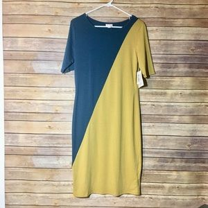NWT Lularoe Julia Green & Yellow Dress Medium